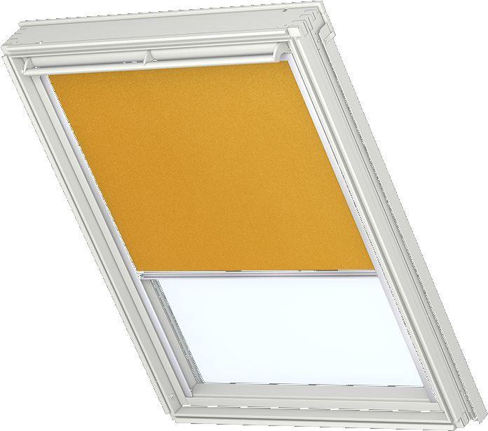 velux verdunkelungsrollo f r wei e fenster alufarbige schienen standardfarbe curry 4563. Black Bedroom Furniture Sets. Home Design Ideas